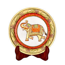 Marble Plate Gold Elephant 6 inch