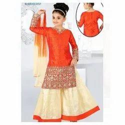 Chiffon And Cotton Orange & Cream Kids Girls Ethnic Dress