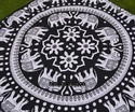 Elephant Printed Square Mandala Cushion Cover