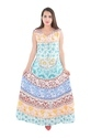 Indian Cotton Multi Color Round Mandala Long Beach Frill Dress