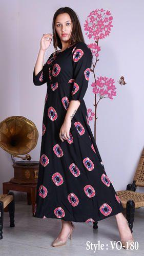 ffd236054c Vedika Overseas Rayon Black Straight Printed Long Dress
