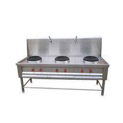 Stainless Steel Three Burner Cooking Range