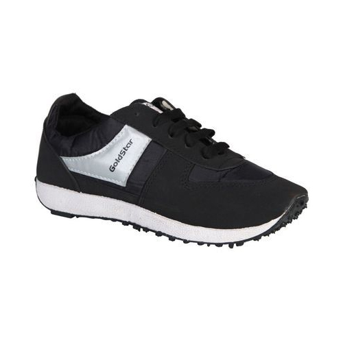 GoldStar Black Lace-Up Running Shoes