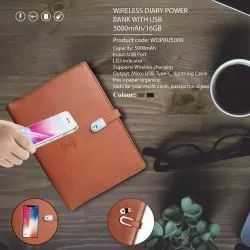 Wireless Diary Power Bank with USB