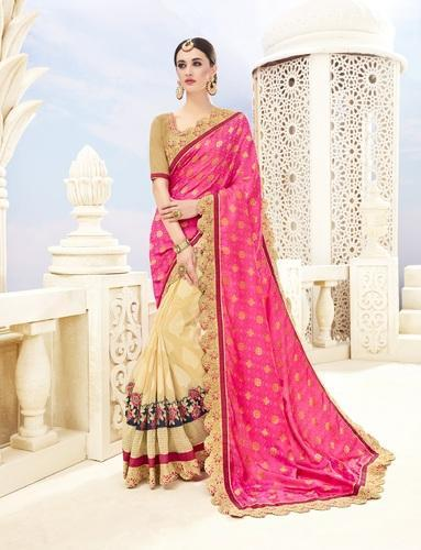 db625736f2 Party Wear Half and Half Embroidered Pink & Beige Banarasi Silk Saree, With  Blouse Piece