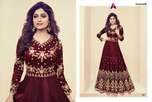 ca440e5c74 Aashirwad Heritage Embroidered Designer Anarkali Suit, Rs 2395 ...