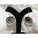 Oxidized Long German Silver Stone Earrings