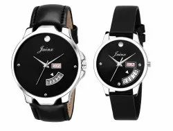 JAINX Day and Date Function Analogue Black Dial Couple Watch