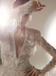 Hand Embroidered Lace For Bridal Gown