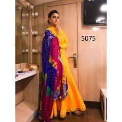 18957f88da Casual Wear Beautiful Designer Taffeta Silk Yellow Gown