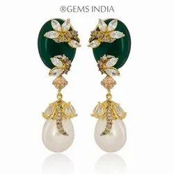 Gems (India) Golden Stylish Emerald Fashion Earrings Jewelry For Women, Pearl Drop