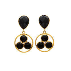 New Design Circular Earring Black Onyx Gemstone 925 Silver Micron Gold Plated Jewellery