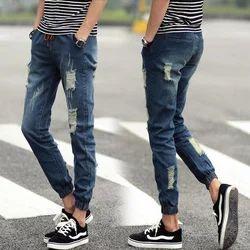 Mens Blue Rough Denim Jeans