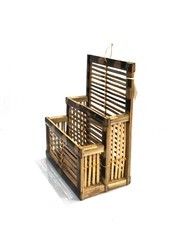 Brown Bamboo News Paper And Magazine Stand Wall Hanging, Size : 190x110x240 Mm