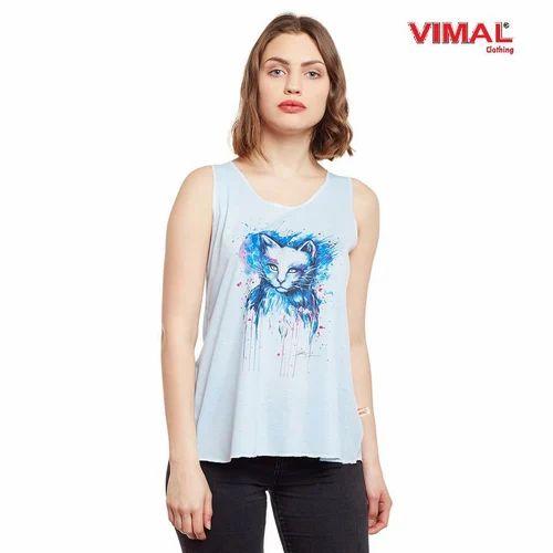 Vimal Clothing Sleeveless Vimal Graphic Printed Light Blue Women Tank Tops