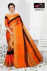 Casual Wear Akshita Handloom Cotton Silk Saree, With Blouse, 5.5 M