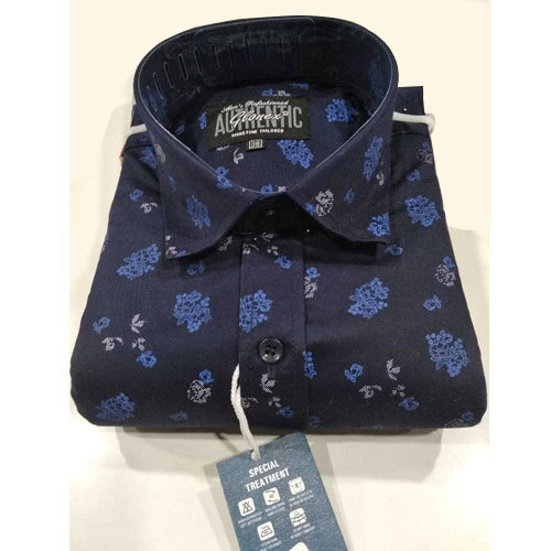 9f92e8fc Cotton And Satin 38 To 48 Inches Mens Dark Blue Printed Shirt, Rs ...