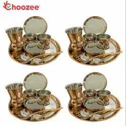 Choozee - Copper Thali Set of 4 (32 Pcs) Plate, Bowl, Spoon & Matka Glass