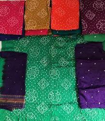 Green Unstitched Bandhani Cotton Suit