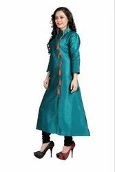 Ladies Green Silk Kurtis