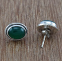 Green Onyx Gemstone Jewelry 925 Sterling Silver Stud Earring