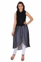 Kooo Black Georgette Long Front Slit Open Buttoned Dress