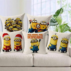 Minions Jute Cushion Cover