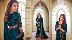 heavy embroidery work sarees for ladies