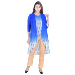 Casual Wear 3/4th Sleeve Georgette Flared Top With Shrug Pant Set