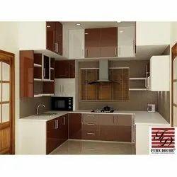 Laminated Plywood U Shaped Modular Kitchen, Warranty: 5 Years