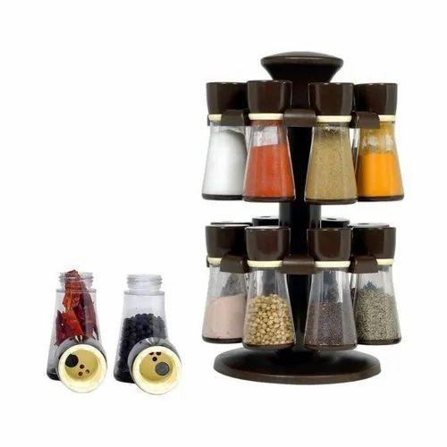 KetZeal Plastic Revolving 16 Pcs Spice Rack, For Kitchen Storage, Size: Standard