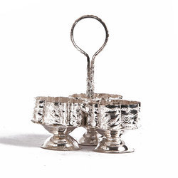 Round Silver Rawsome Shack Brass Sindoor 3 Dibbi Box, For Mukhwas Small Bowls, Capacity: Varied