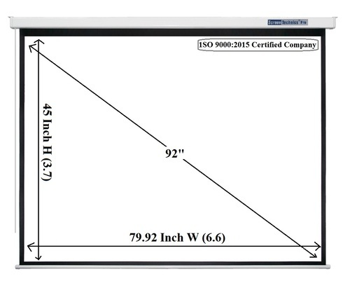 White Pro Series Motorized Projector Screen 92 Inch Diagonal