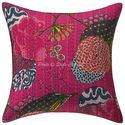 Hand Embroidered Kantha Printed 16x16 Ethnic Cushion Cover