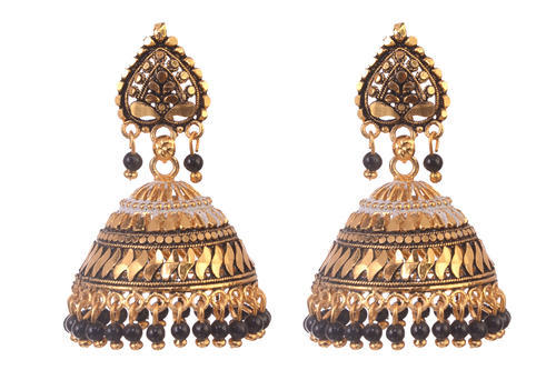 3b67d5ae7 GN Beautiful New Look Oxidized Gold Plated Maroon Beads Jhumkha ...