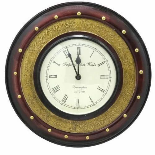 Multicolor Analog Brass Carved Wall Clock, For Home,Office