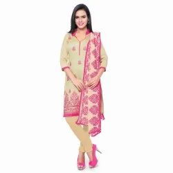 Beige Colored Cotton Unstitched Salwar Suit