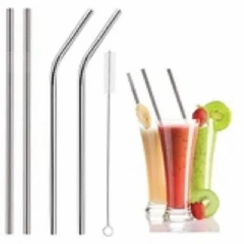Stainless Steel Straight Bend Drinking Straw with Brush Reusable Washable New
