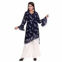 White And Black Crepe Kurti