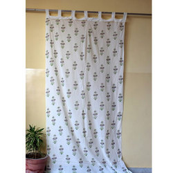 Hand Block Print Cotton Flower Curtain