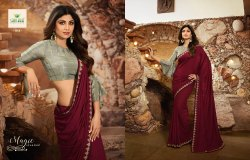 Party Wear Plain Maroon Silk Saree, Machine Wash, With Blouse Piece