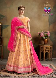 Peach Colour Purfe Silk Lehenga