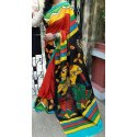 Orrenge/green Cotton Molmol Ladies Hand Printed Cotton Saree, Hand Made, 6.3 M (with Blouse Piece)