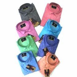 Plain Collar Neck Mens Cotton Casual Shirt