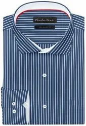 100% Cotton White And Ble Regular Fit Blue And White Stripe