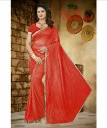 Poly Cotton Sarees With  Blouse Piece, 6.50 m
