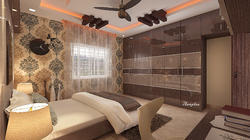 Wood Ceiling Designs with Wardrobe