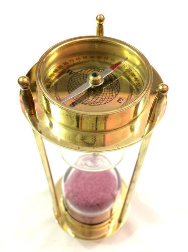 Decorative Brass Sand Timer Vintage Nautical Collectibles Black Sand Hourglass