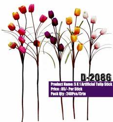 Artificialflower Silk D2086 Artificial Tulip Stick, Packaging Type: Carton, Packaging Size: 240 Pieces