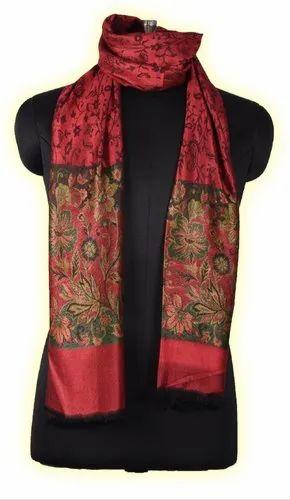Female Printed Semi Silk Jamawar Border Shawl, Size: 80 X 200 cm